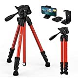 GEEKOTO Travel Camera Tripod Lightweight 55''Portable for DSLR Cameras Canon Nikon Sony with Phone Holder Quick Release Plates for Camera iPhone Ipad,Suitable for Video Recording and Shooting