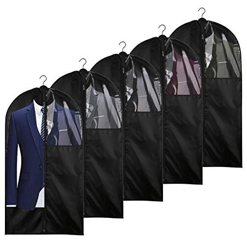 Foraineam 5 Pack 43 Inch Oxford Fabric Garment Bag Suit Cover Bags with Zipper and Transparent Window for Travel and Storage, Anti-Moth Protector, Washable Suit Bag for Suits, Coats, Shirts, Dresses