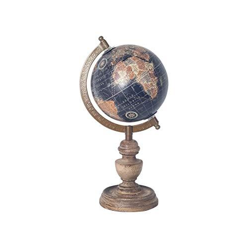 SIGRIS Globo Terraqueo Decorativo Madera con Peana 29 cm