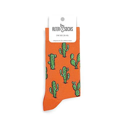 Altersocks - Calcetines unisex de fantasía y colores de algodón, talla única (36 a 45), modelo Cactus