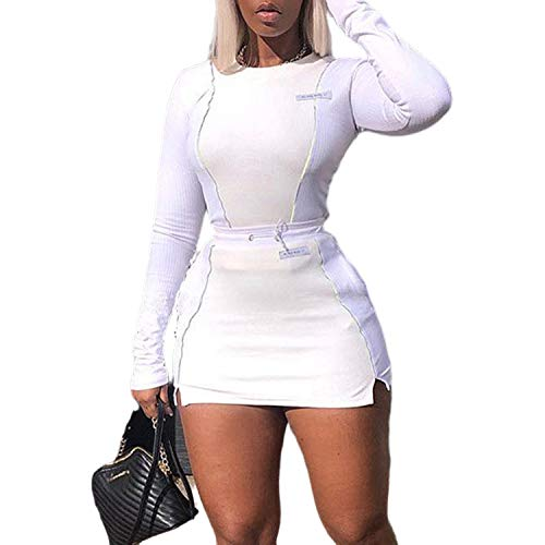 VWIWV Women's Knitted 2 Piece Outfit Reflective Striped Long Sleeve Crop Top and Mini Bodycon Skirts Set White Montana