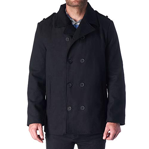 Hammer Anvil Bryce Mens Wool Blend Double Breasted Peacoat BLK 2XL
