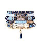 RIAH FASHION Bead Multi Layer Versatile Statement Bracelets - Stackable Beaded Strand Stretch Bangles Sparkly Crystal Mix, Tassel Charm (Navy)