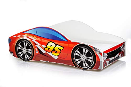 Cama infantil coche de carreras + somier (barandas) + colchón de espuma con cubierta 140x70 cm 160x80 cm 180x80 cm (160x80 cm (untill 8 jears), 5.Red)