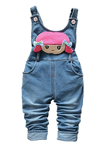 Kidscool Space Baby Toddler Girls Soft Knitted Cotton Denim Cute Cartoon Overalls,Blue,3-4 Years