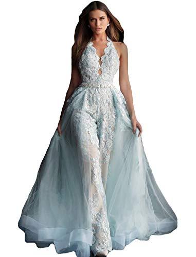 The Peachess Women's Jumpsuits Prom Dresses Lace Appliques Evening Gowns Detachable Train Pants Suit Party Wear Sky Blue