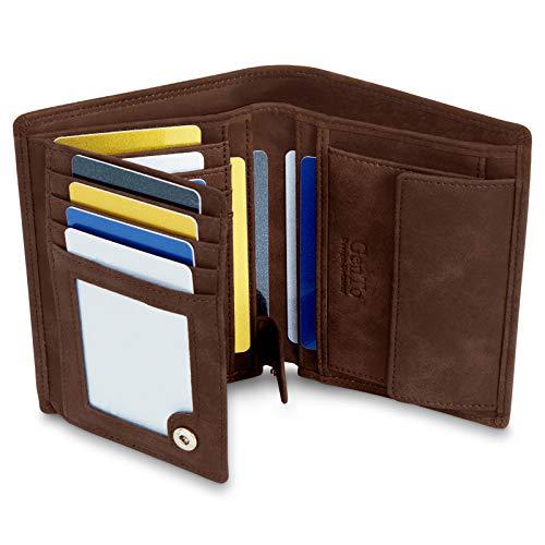 GenTo® Dublin Herren Geldbörse mit Münzfach - TÜV geprüfter RFID, NFC Schutz - geräumiges Portemonnaie - Geldbeutel für Männer - Portmonaise inkl. Geschenkbox (Dunkelbraun - Soft)