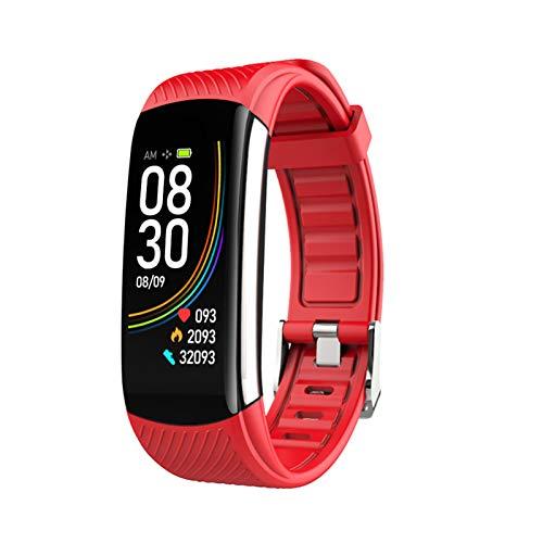 FMSBSC Reloj Inteligente Hombre Smartwatch - Medidor de Temperatura Corporal, Pulsómetros, Monitor de SpO2, Monitor de Sueño, Presión Arterial, Pulsera Actividad Inteligente para Android iOS,Rojo