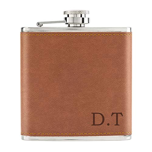 Personalised Custom Initials 6oz PU Leather Hip Flask Tan