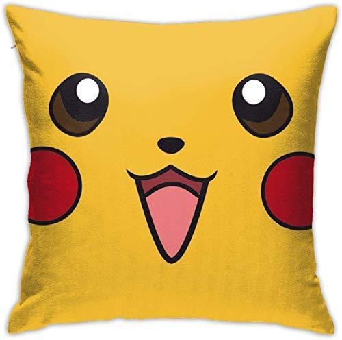 By Cute Poke-Mon Pika-CHU Cotton Pillow Throw Cushion Cover Case Home Decoration Fundas para Almohada (45cmx45cm)