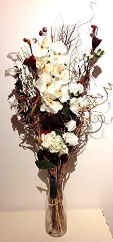 Link Products - Ramo de flores secas y artificiales, 85cm de largo, listo para colocar en florero