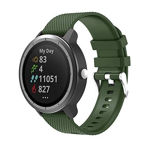 METEQI Correa Compatible con Garmin Vivoactive 3,Correa Reloj Silicona Suave Ajustable 20mm para Garmin Vivoactive 3/Forerunner 645 Música/Samsung Galaxy 42mm (Verde)