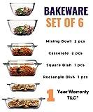Femora Borosilicate Glass Microwave Safe Baking Dish, Casseroles, Mixing Bowl Bakeware Glass Kitchen