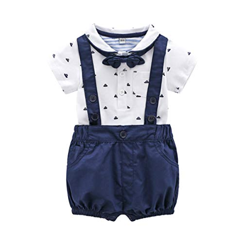 Baby Boys Gentleman Outfits Suits, Infant Short Sleeve Shirt+Bib Pants+Bow Tie Overalls Clothes Set3-6M Deep Blue