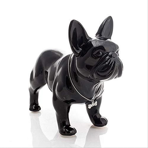 Bulldog Francese Statua Cane Arte Scultura Artigianato in Ceramica Ornamento Porcellana Figurine Animali 18X8X15Cm Nero