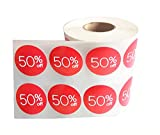 Price Stickers 50 Off Percent Off Labels 1.5 inch Stickers 1000 Pcs Circle Pricemarker Half Off Labels Stickers roll