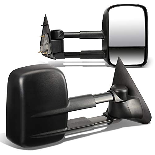 Replacement for Ford F150 F250 Pair of Black Textured Telescoping Manual Extenable Side Towing Mirrors