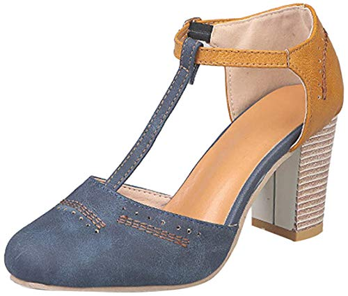 Minetom Donna Sandali Estive con Cinturino A T Chiuse Davanti Eleganti Mary Jane Tacco Alto Scarpe Casuale Comode Mode Party Blu 38 EU