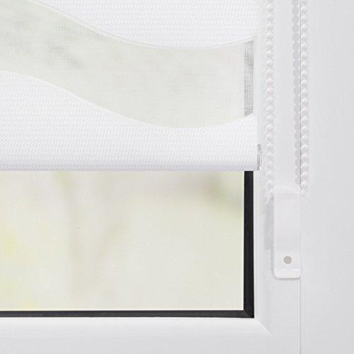 Lichtblick Duo-Rollo Welle Klemmfix, 90 cm x 150 cm (B x L) in Weiß, ohne Bohren, Doppelrollo mit Jalousie-Funktion, dekorativer Sonnen- & Sichtschutz, für Fenster & Türen - 8