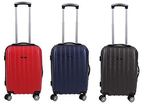 Betz Reisekoffer Hartschalen Koffer Handgepäck Teleskop Trolley Boardcase mit TSA Schloss und Leichtlaufrollen Farbe rot