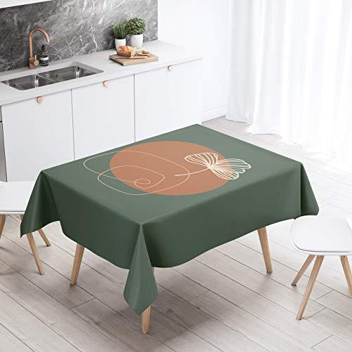 XXDD Manteles rectangulares nórdicos, Hule Impermeable para Mantel artístico Verde, Cubierta Decorativa escandinava A3 140x140cm