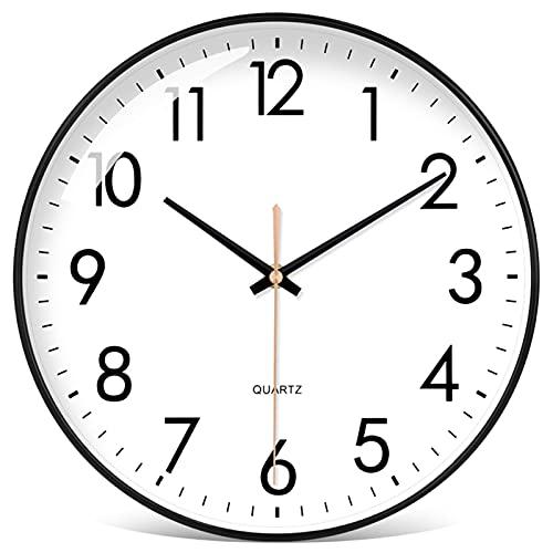 GaoLL Relojes de Pared Reloj de Pared Negro silencioso sin Tic-TAC - 11 Pulgadas de Cuarzo de Calidad, Funciona con Pilas, Redondo, fácil de Leer, Sala de Estar/Dormitorio/Sala Familiar/Oficina