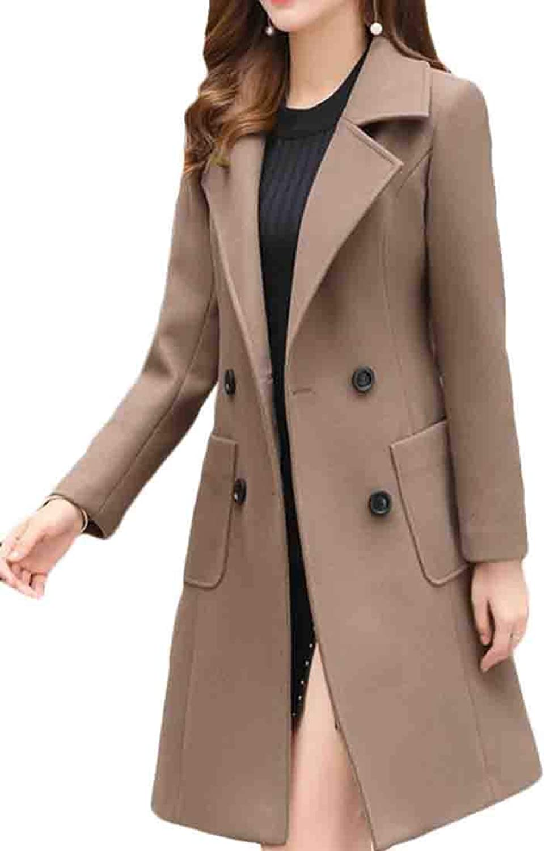Frieed Women's Pea Coats Woolen DoubleBreasted Warm Long Trench Coat
