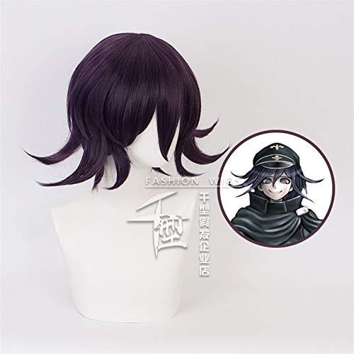 LJYNB Danganronpa V3: Killing Harmony Ouma Kokichi Cosplay peluca hombre nios azul negro corto recto Anime peluca regalo de fiesta de Navidad