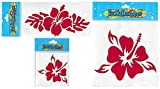 Inbloom Stickers Hibiscus Collection–3 Individual Stickers–a Mini, a Shorty and a Regular–Accessory for Your car, Truck, Laptop, Cell Phone, Water Bottle, Window, Surfboard, Skateboard! (Red)