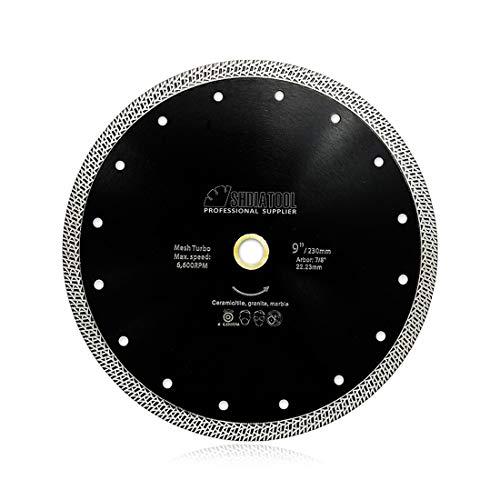 SHDIATOOL Disco Tronzador de Diamante 230MM con Malla Turbo Hoja de Sierra para Porcelana Azulejos Cerámica Granito Mármol