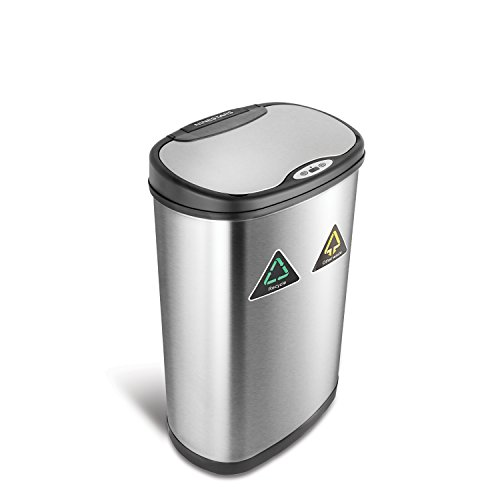 NINESTARS DZT-50-13R Automatic Touchless Infrared Motion Sensor Trash Can/Recycler, 13 Gal 50L, Stainless Steel Base (Oval, Black/Silver Lid)