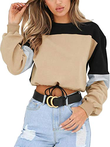 Angashion Womens Sweatshirt-Long Sleeve Drawstring Hem Color Block Crop Top...