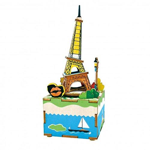 3DINO Eco Lego de madera 41 caja de música piezas para construir torres Eiffel sonoro, 7 x 8 x 18,5 cm