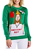 Tipsy Elves Women's Ugly Christmas Sweater - Happy Birthday Jesus Sweater Green Size XL