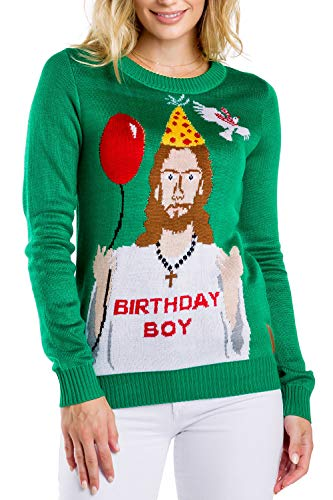 Tipsy Elves Women's Ugly Christmas Sweater - Happy Birthday Jesus Sweater Green Size M
