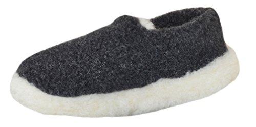SamWo, Schafwoll-Wohlfühl-Hausschuh/Pantoffeln Unisex, weiche rutschfeste Sohle, 100% Merinowolle, SWHG 45-46 sw
