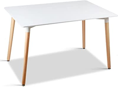 Beech Leg Rugged Dining Table 6 Seat Kitchen White