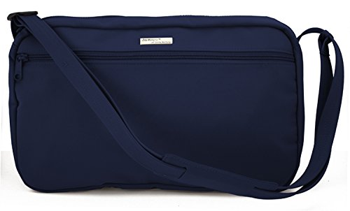 DayMakers BeSafeBags Anti-Theft Travel Security Shoulder Bag, 7 Pockets, Medium, Horizontal, Navy Microfiber