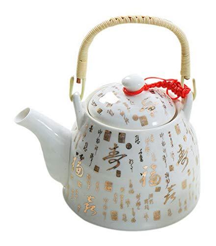 Spicy Meow Teiera bollita bollitore in Ceramica Fredda con Manico in Legno, 35 Once, Golden Fushou Words
