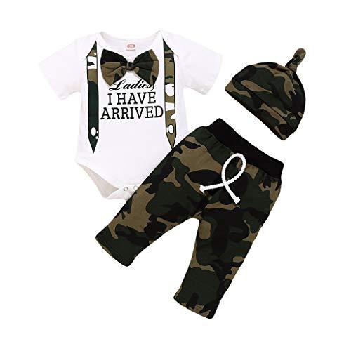 Neugeborenen Jumpsuits, Sunday Nette 3 STÜCKE Set Neugeborenen Jungen Strampler Tops + Lange Hosen Hut Outfits Kleidung 0-6 Monate(A-Weiß 5,0-6 Monate)