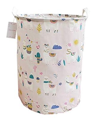 LEELI Laundry Hamper with Handles-Collapsible Canvas Basket for Storage Bin,Kids Room,Home Organizer,Nursery Storage,Baby Hamper,19.7×15.7 (Pink Llama)