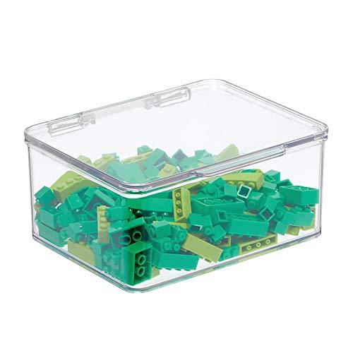 mDesign Contenitore portagiochi – Portagiochi con coperchio per sistemare i giocattoli negli scaffali o sotto il letto – Contenitore giochi 17,8 cm x 14,6 cm x 7,7 – trasparente