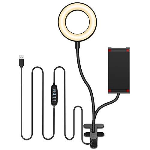 [進化版] LEDリングライト クリップ式 【3色モード付き 10段階調光 高輝度LED撮影照明用ライト】 美白効果 卓上ライト スマホスタント付き 360度回転 美容化粧/自撮り写真/YouTube生放送/ビデオカメラ撮影用