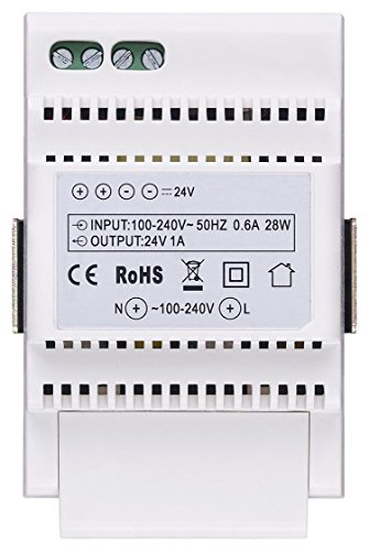 Vimar 40103fuente para videocitofonia con salida 24V, transmisión 100–240V ~ 50/60Hz, instalación sobre guía DIN (60715TH35), occupa 3módulos de 17,5mm