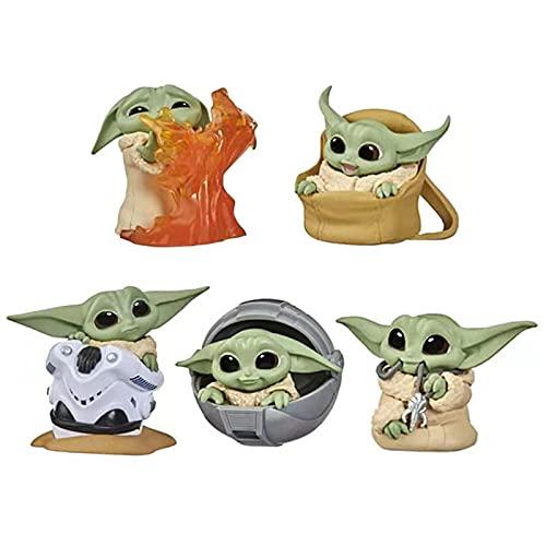 Nuevo llega el niño Grogu Kawaii 5 unids/Set Baby Yoda Figura de acción Juguetes Juguetes Calientes PVC Yoda Kawaii decoración de Coche Regalos para niños 5 unids/Set