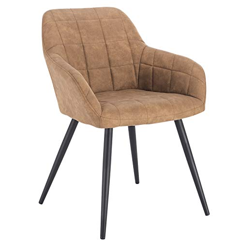 WOLTU® Esszimmerstuhl BH224br-1 1 Stück Küchenstuhl Polsterstuhl Wohnzimmerstuhl Sessel mit Armlehne, Sitzfläche aus Stoffbezug, Metallbeine, Braun