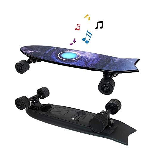 Mini Caster Board-intelligenter elektrischer Longboard Skateboard mit Lautsprecher mit Fernbedienung, 35 Km / H High-Speed-Einbau-LED-Leuchten und Bluetooth-Stereo-Drop-Through Freeride Skating Cruise*