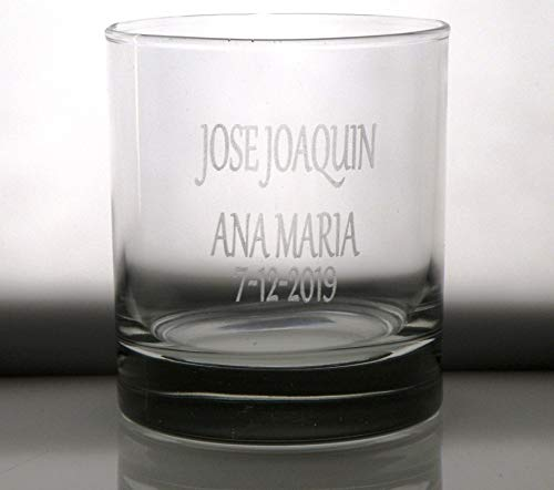 Arte-Deco Vaso Whisky BAJO Personalizado Texto Novios Pareja, Grabado cumpleaños, Aniversario, día Padre y Madre, jubilación, Hombre y Mujer