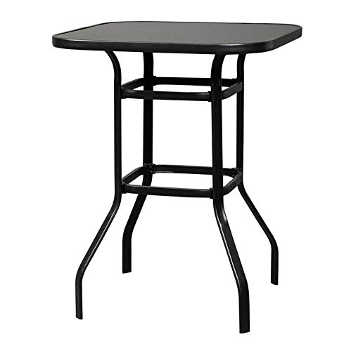 Dining Furniture; Outdoor Garden Wrought Iron Glass High Bar Table End Table Coffee Table; for Living Room Patio Pool Backyard; Black