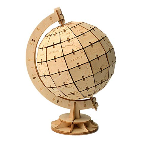 HO-TBO 3D PuzzleWooden Globe Puzzle Blocks Assembly DIY Model Toys Wood Craft Desk DecorPuzzle Game Model Jigsaw Toy